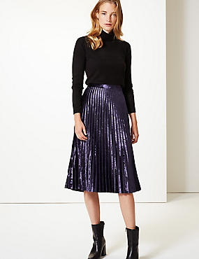 Velvet Pleated Midi Skirt, DEEP PURPLE, catlanding