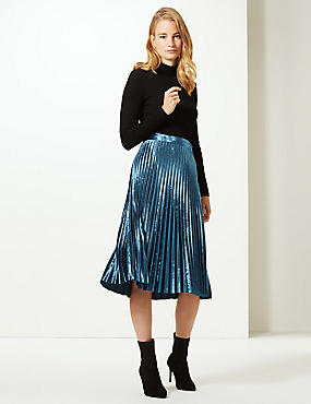 Velvet Pleated Midi Skirt, DARK MARINE, catlanding