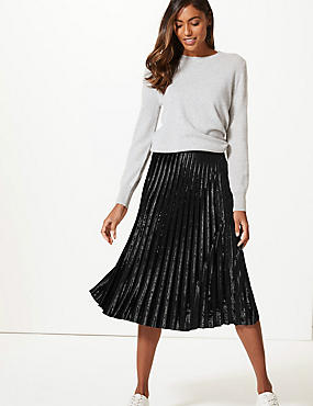 Velvet Pleated Midi Skirt, BLACK, catlanding