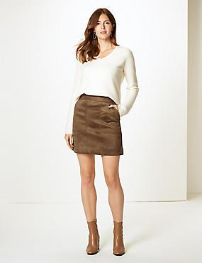 A-Line Mini Skirt, STONE, catlanding