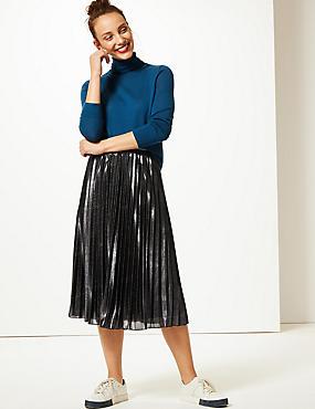 Sparkly Pleated Midi Skirt , NAVY MIX, catlanding