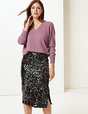 Embellished Pencil Midi Skirt, NAVY MIX, catlanding