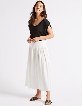 Drop Waist Maxi Skirt , WINTER WHITE, catlanding