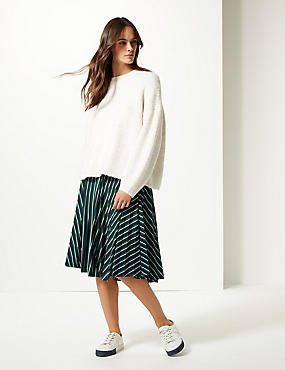 Striped Jersey Pleated Midi Skirt , NAVY MIX, catlanding