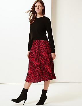 Animal Print Pleated Midi Skirt, RED MIX, catlanding