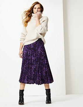 Animal Print Pleated Midi Skirt, PURPLE MIX, catlanding
