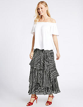 Tiered Striped A-Line Maxi Skirt