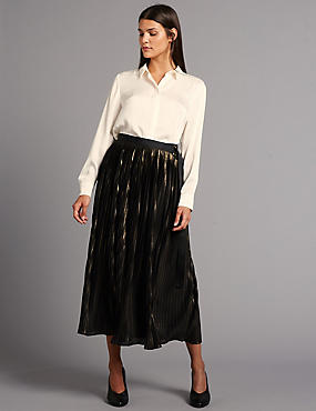 Metallic Texture Pleated A-Line Midi Skirt