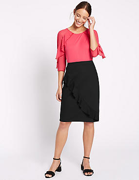 Ruffle Pencil Midi Skirt