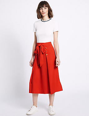 Tie Waist Button Detail A-Line Midi Skirt