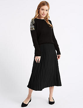 PETITE Variegated Pleat A-Line Midi Skirt