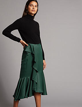Satin Ruffle Pencil Midi Skirt