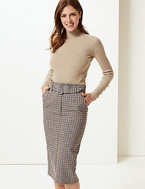 Checked Pencil Skirt, NATURAL MIX, catlanding