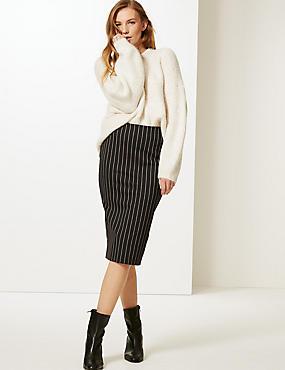 Striped Midi Skirt, BLACK MIX, catlanding