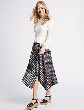 Asymmetric Checked Wrap Midi Skirt, DARK NAVY MIX, catlanding