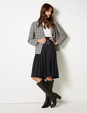 Pleated Midi Skirt, BLACK, catlanding