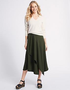 Asymmetric Panel Detail Wrap Midi Skirt, DARK OLIVE, catlanding