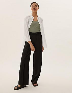 Asymmetric Panel Detail Wrap Midi Skirt, BLACK, catlanding