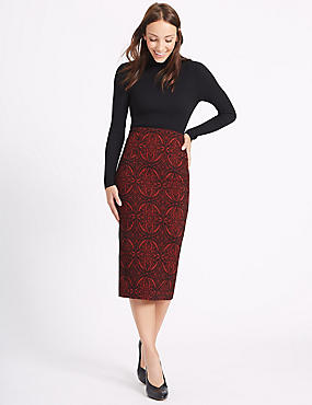 Paisley Print Pencil Midi Skirt
