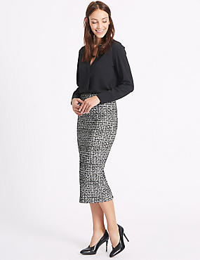 Scratch Print Pencil Midi Skirt