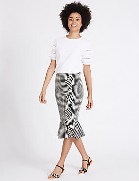 Gingham Ruffle Pencil Midi Skirt