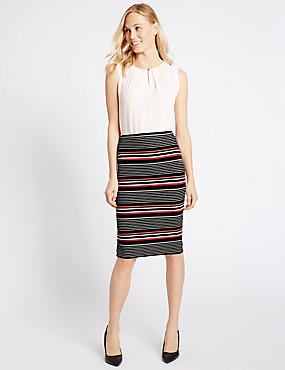Striped Pencil Midi Skirt
