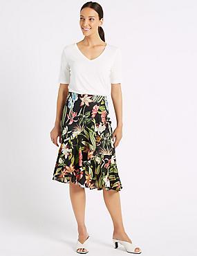 Frill Hem Floral Print Wrap Skirt , BLACK MIX, catlanding