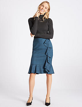 Checked Ruffle Pencil Midi Skirt