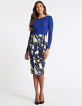 Geometrical Print Pencil Skirt