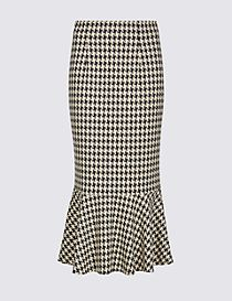 Dogtooth Check Fishtail Midi Skirt