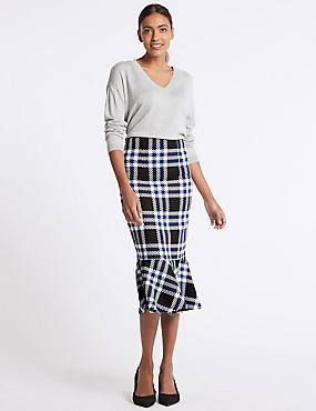 Checked Fish Tail Midi Skirt