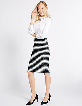 Striped Linear Pencil Midi Skirt