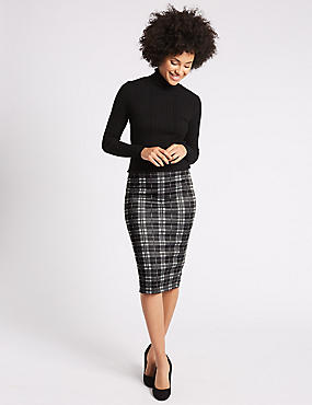 Scuba Checked Pencil Midi Skirt
