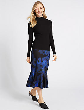 Floral Print Fishtail Midi Skirt