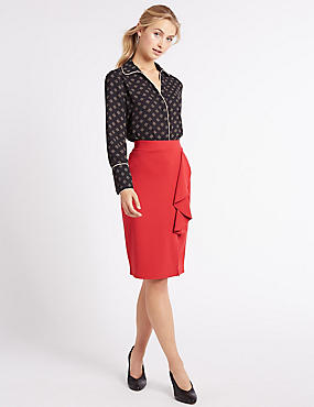 Ruffle Front Split Pencil Midi Skirt