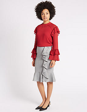 Striped Ruffle Pencil Midi Skirt