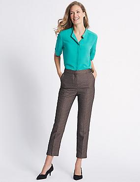 Cotton Blend Jacquard Straight Leg Trousers , GOLD MIX, catlanding