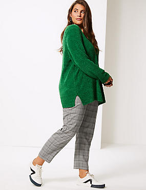 CURVE Checked Slim Leg Trousers, GREY MIX, catlanding