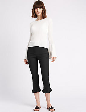 Cotton Blend Frill Hem Slim Leg Trousers