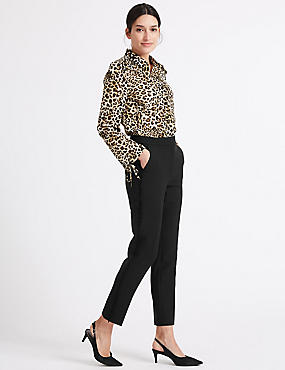 Side Frill Slim Leg Trousers