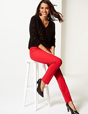 Cotton Rich Slim Leg Trousers , RED, catlanding