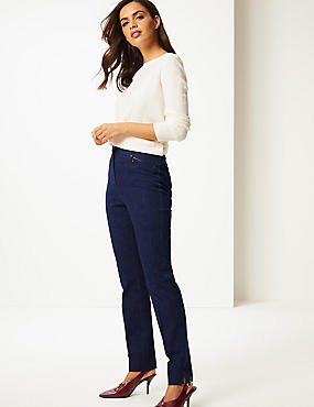 Cotton Rich Slim Leg Trousers , NAVY, catlanding