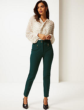 Cotton Rich Slim Leg Trousers , KHAKI, catlanding