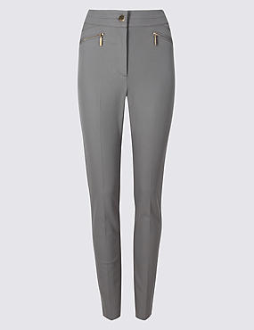 Cotton Rich Slim Leg Trousers , GREY, catlanding