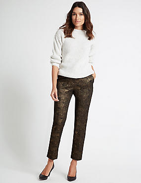 Cotton Rich Textured Slim Leg Trousers