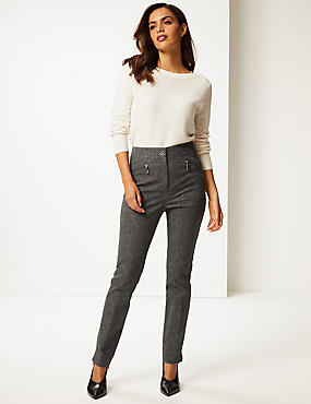 Cotton Rich Textured Slim Leg Trousers , CHARCOAL MIX, catlanding