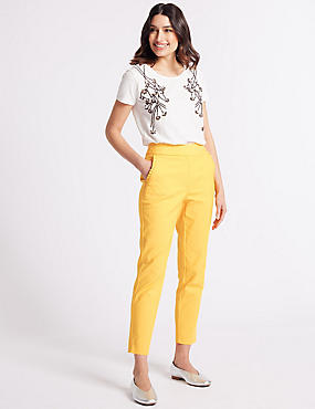 Cotton Blend Frill Pocket Trousers