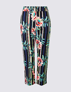 PETITE Striped Cropped Slim Leg Trousers