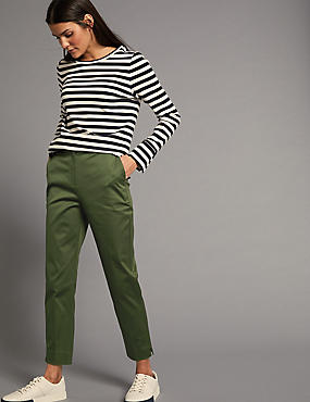 Cotton Rich Split Hem Trousers