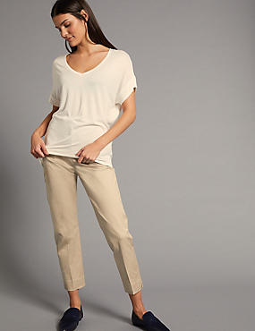 Supima Cotton Rich Split Hem Trousers, MEDIUM BEIGE, catlanding